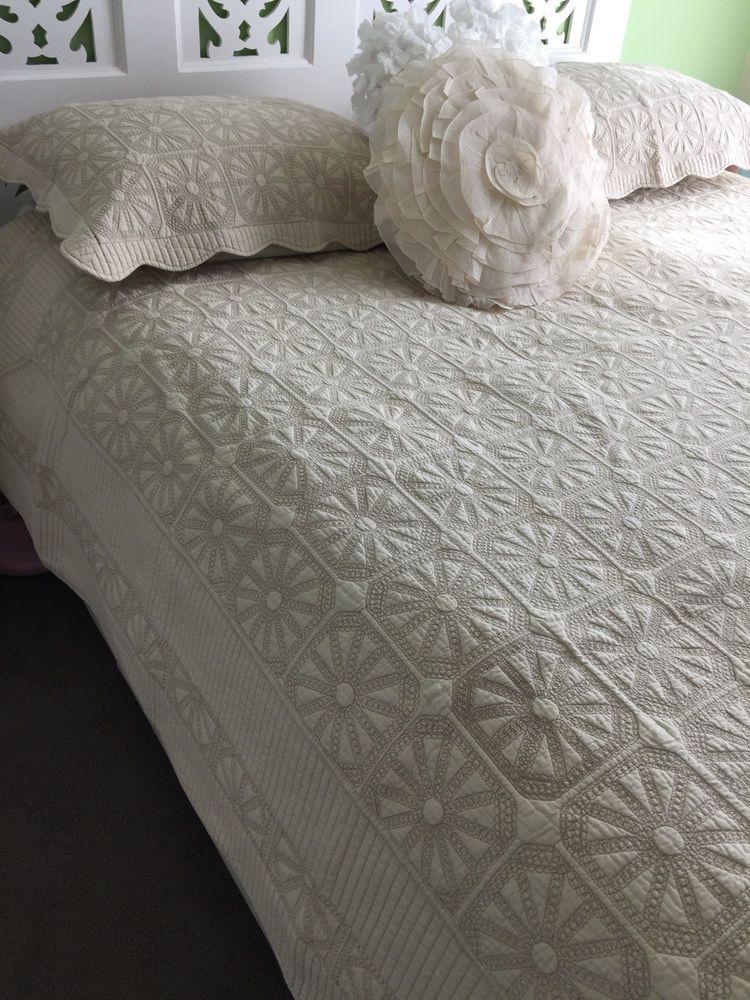 Latte King Bed Madeira Cotton Hamptons Provincial Coverlet / Quilt ... : madeira quilt - Adamdwight.com