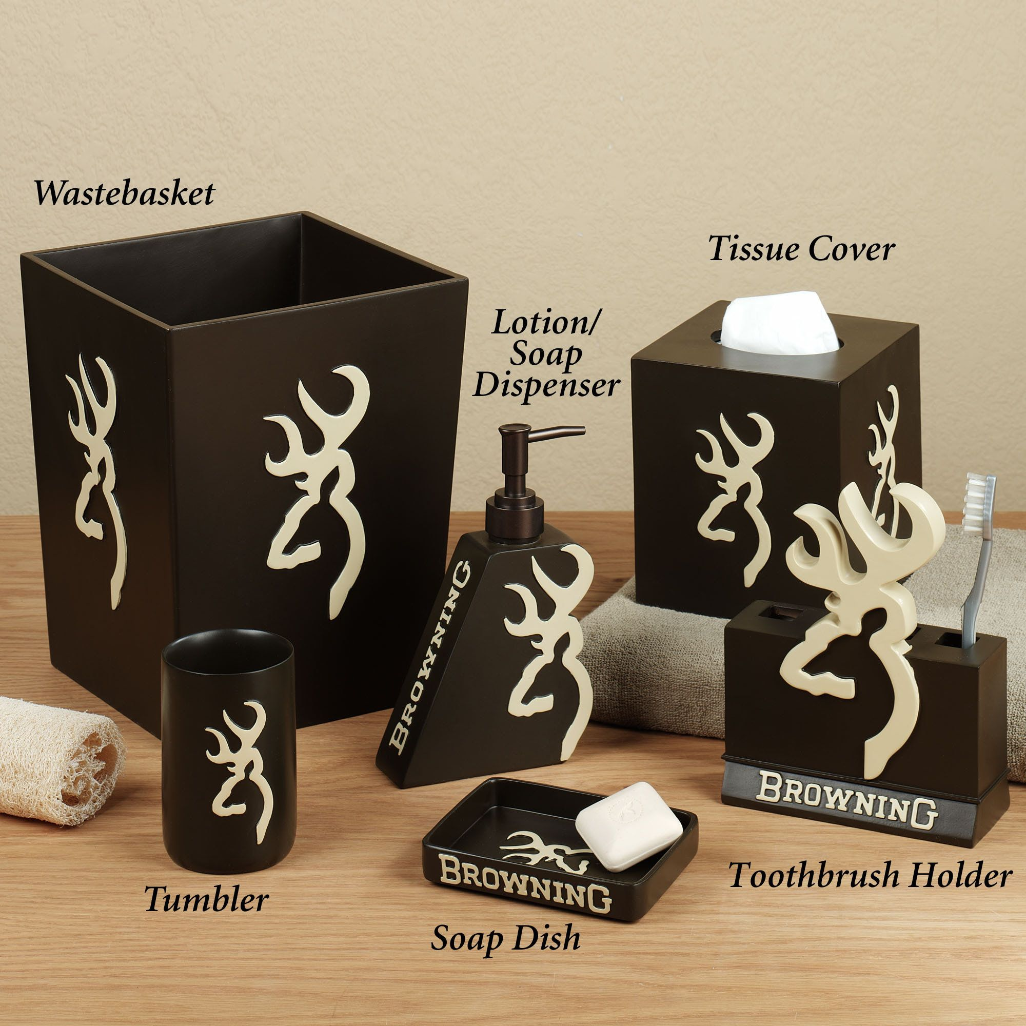 Deer Hunting Decor Deer Bath Accessories Complete With The Famous Deer Logo Will Liven Up New Home Designs Deer Hunting Decor