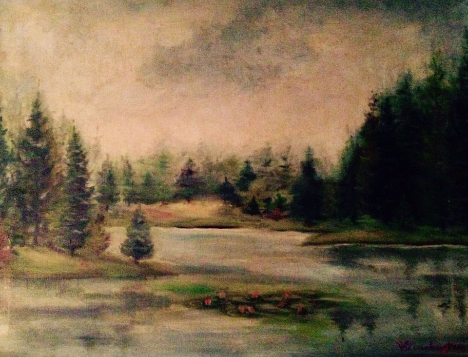 """Antique landscape on stretched canvas by Winchester. 24""""w x 18""""h SOLD"""