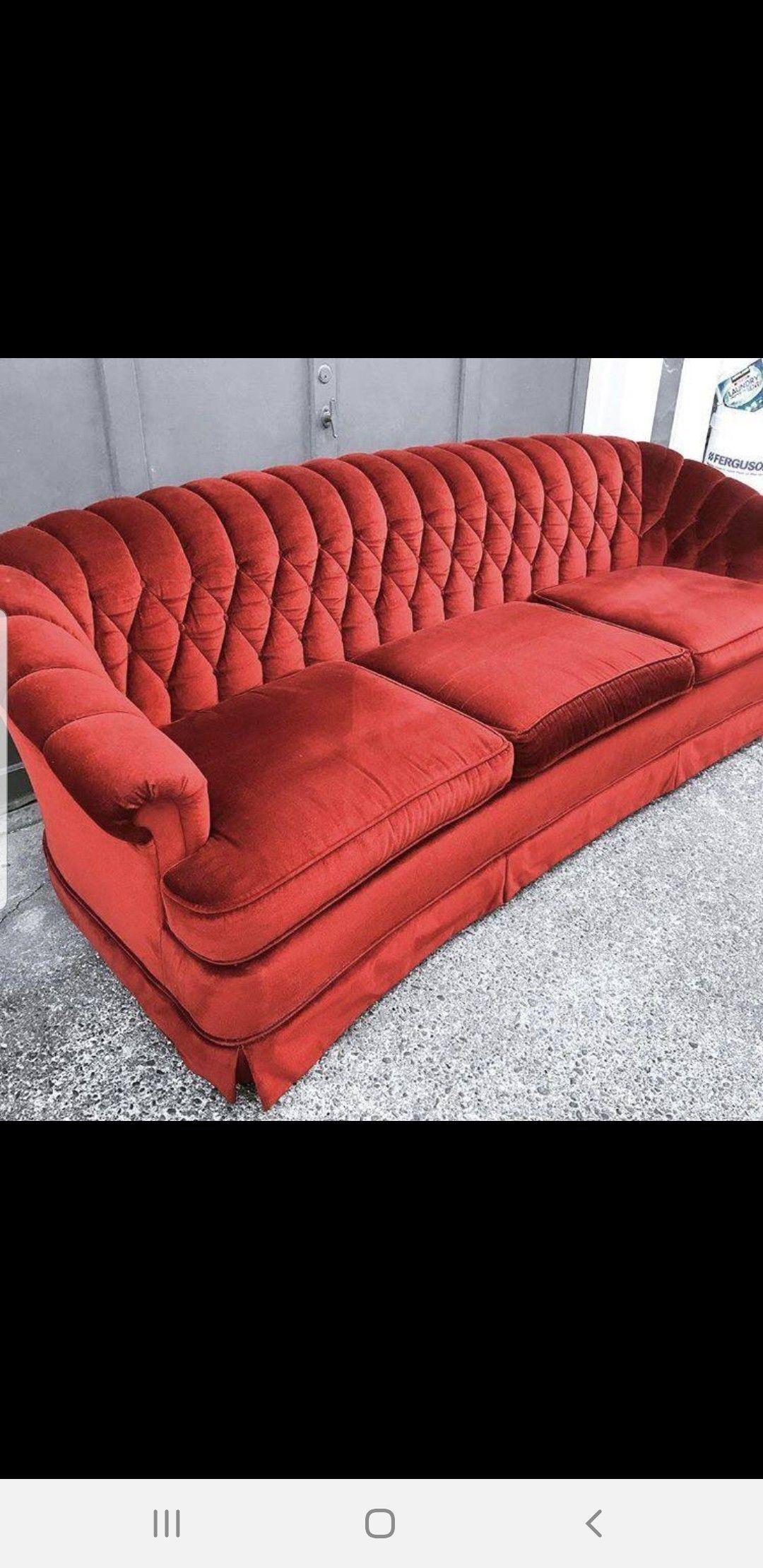 Vintage Burnt Red Velvet Couch Craigslist Velvet Couch