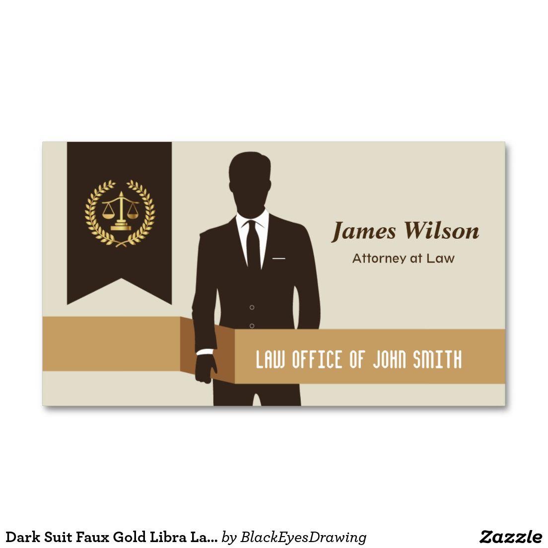 Dark Suit Faux Gold Libra Laurel Classic Lawyer Business Card ...