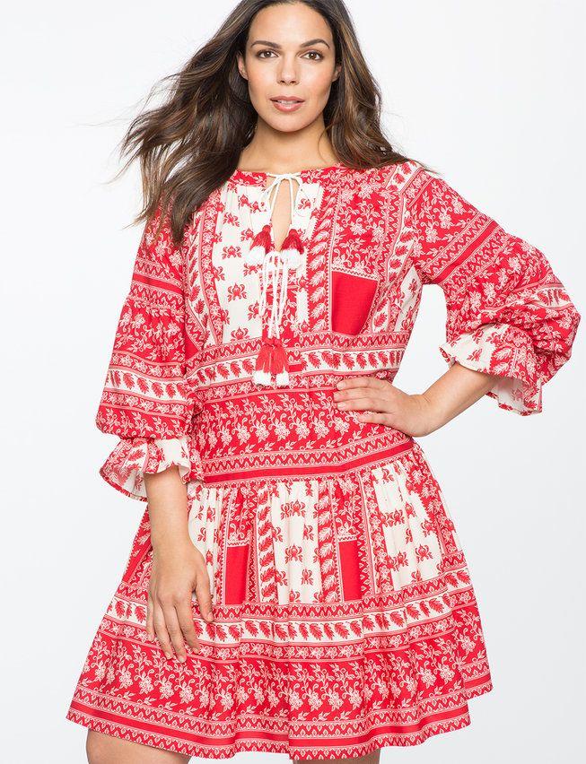 Gathered Sleeve Boho Dress | Women\'s Plus Size Dresses
