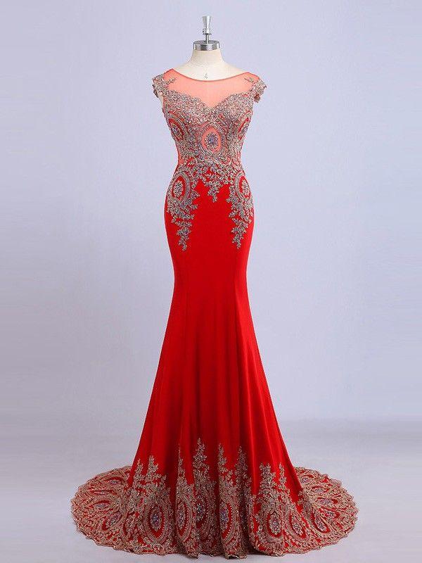 2016 Trumpet/Mermaid Scoop Sleeveless Empire Zipper Prom Sweep/Brush TRAIN Chiffon Red New Arrival Prom Dresses