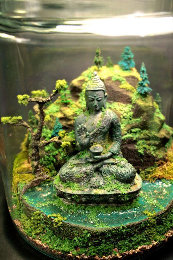 Ancient Buddha Zen Garden Terrarium Moss And By Megatone230, $215.00
