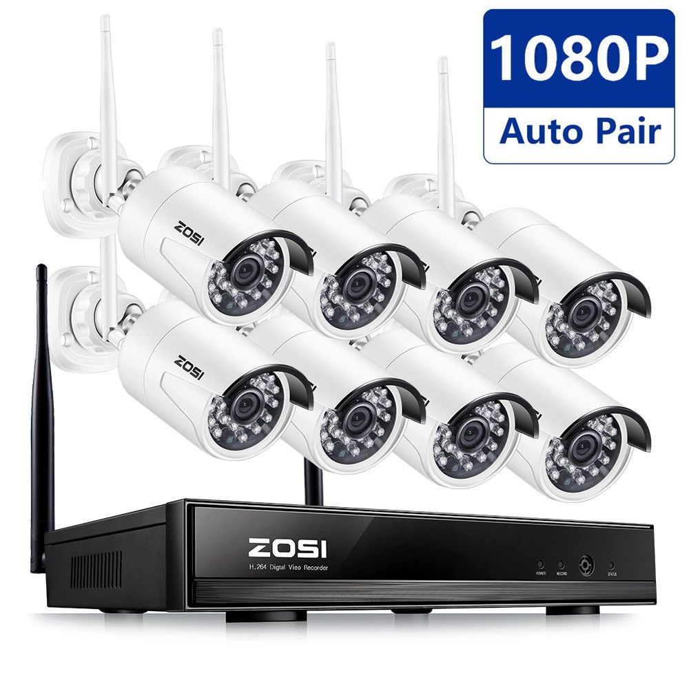 Zosi 1080p Wireless Nvr 1 3mp 2mp Outdoor Security Ip Camera Cctv System 1tb 2tb Wireless Security Camera System Wireless Home Security Home Security Systems