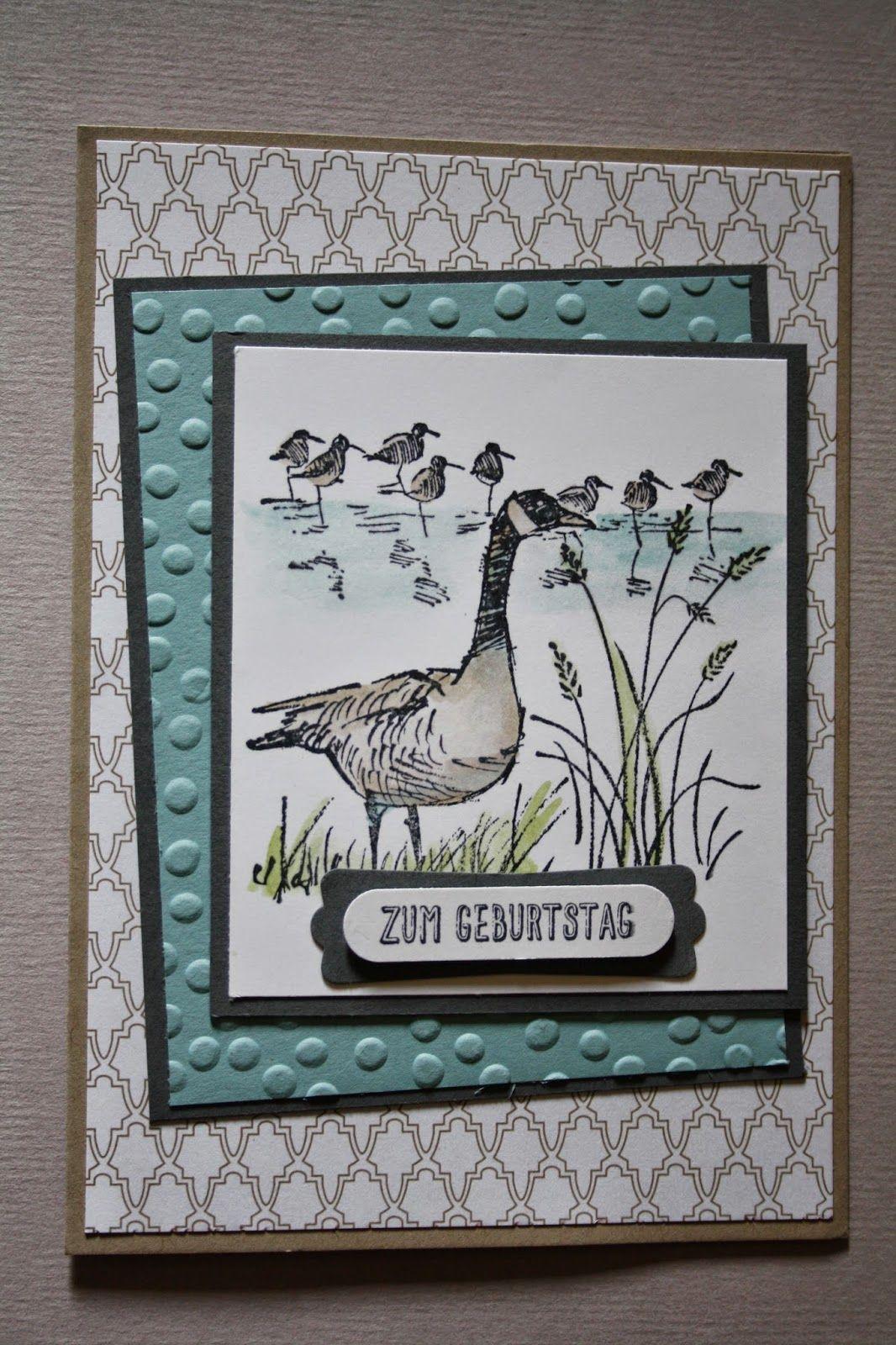 features Stampin Up\'s Wetlands stamp set. Geburtstagskarte in kühlen ...