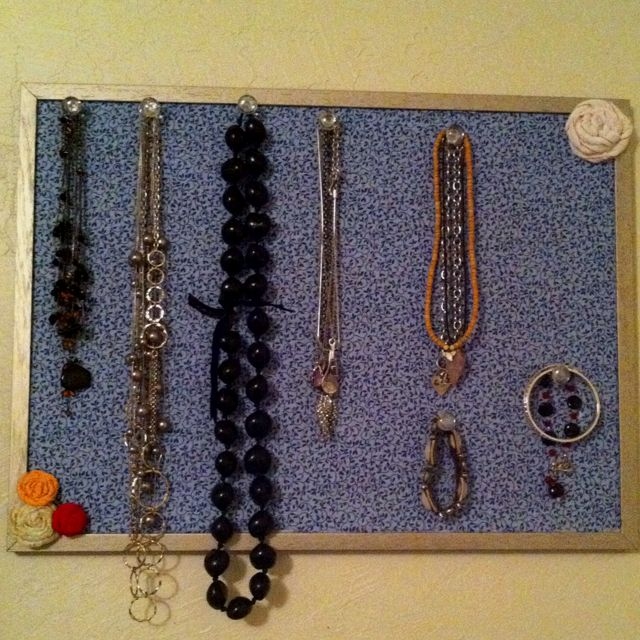 Jewelry holder I repurposed my bulletin board Painted it covered