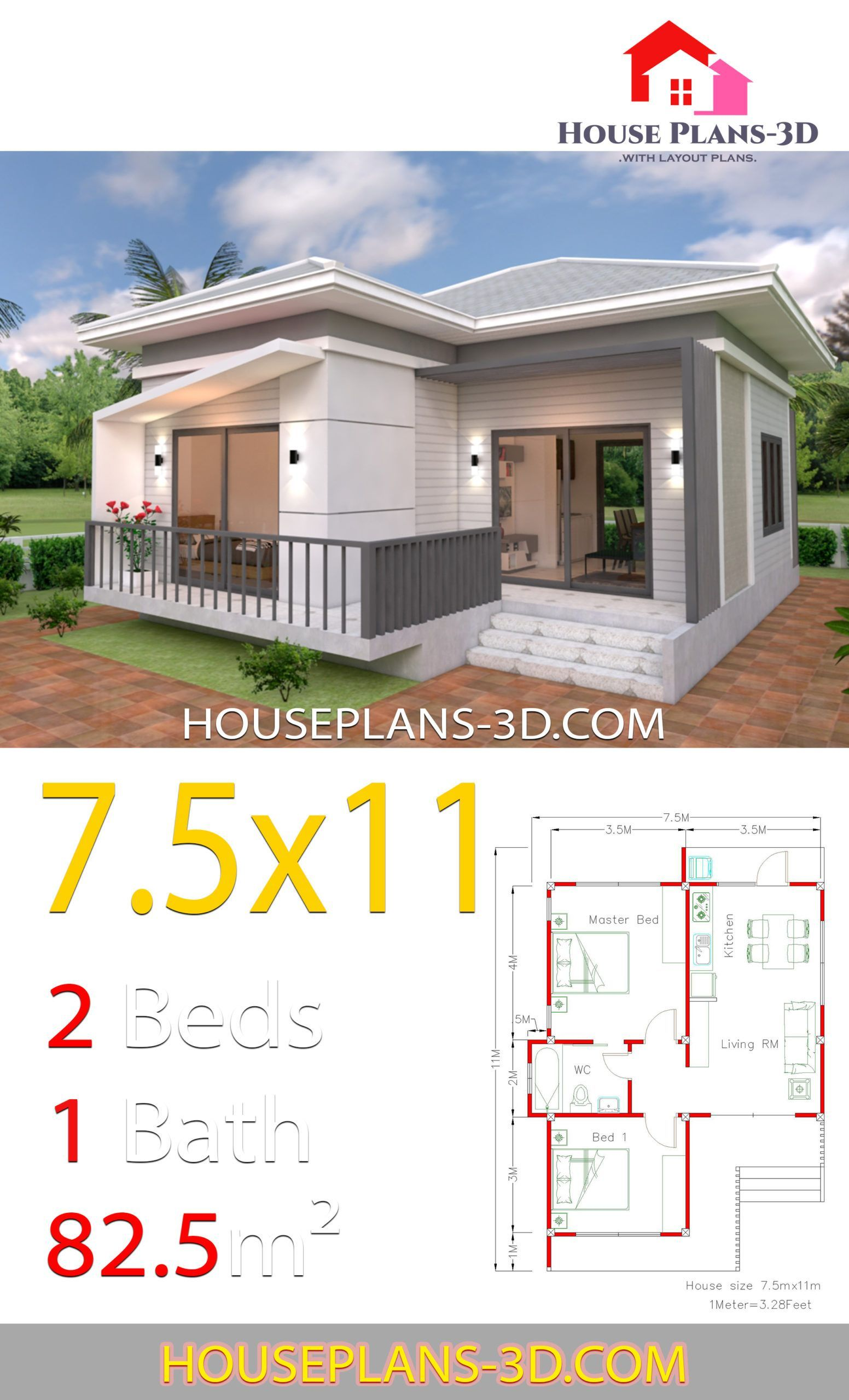 House Plans 7 5x11 With 2 Bedrooms Hip Roof In 2019 House In 2020 House Plans Small House Design Plans Bungalow House Design
