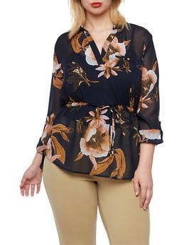 Plus Size Floral Top with Drawstring Waist and High Low Hem - 3803068700526
