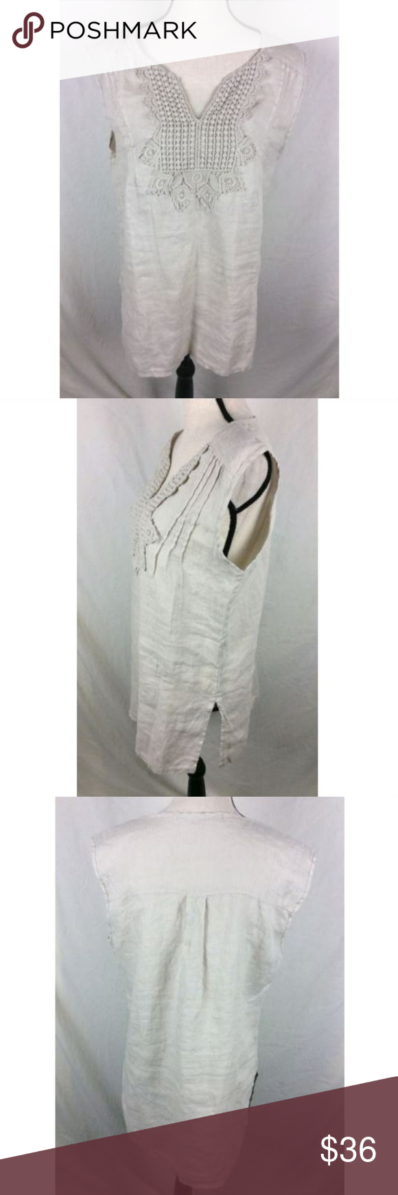 a949e54f737 Marina Gigli Top Sand Beige Sleeveless Linen Italy Marina Gigli Womens Top  Large Beige Tan Sleeveless