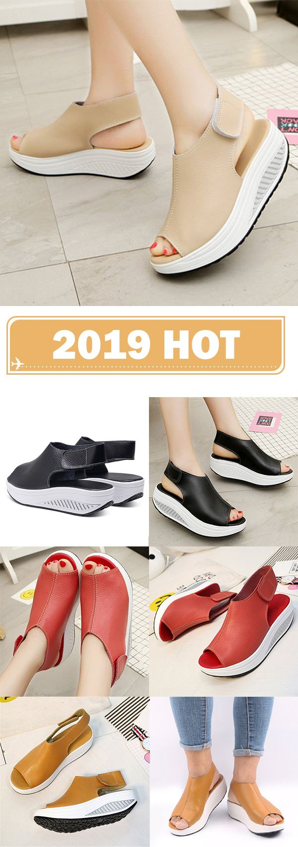 a32950607285 Sandals Casual Wedge Heel Sandals Microfiber Leather Magic Tape Shoes