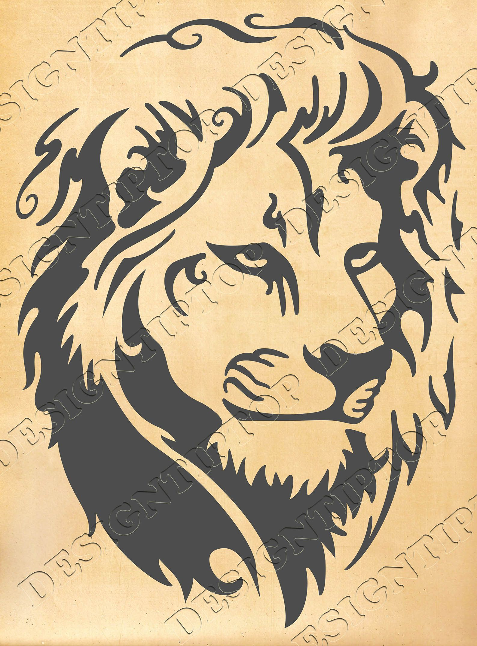 Head of a lion, SVG, DXF, PNG, AI ,CDR, PDF, print and cut files for ...