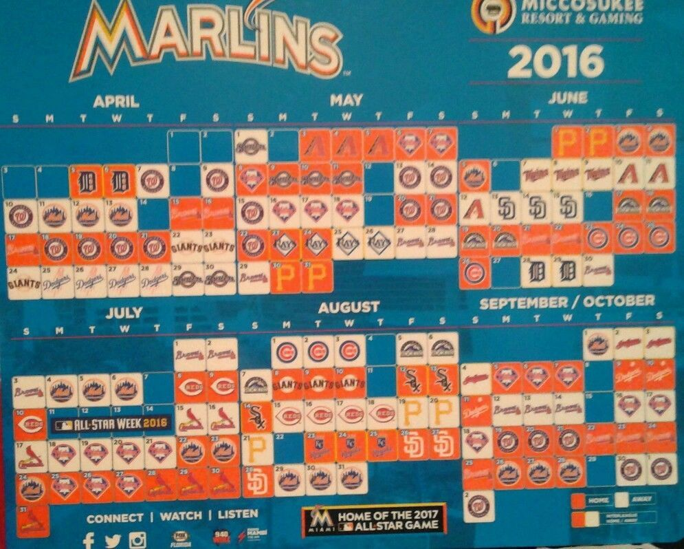 2016 Miami Marlins Mlb Magnetic Baseball Schedule Calendar New Florida Marlins Miami Marlins Marlins Schedule Calendar