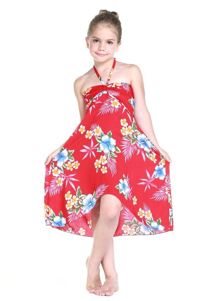 3ba8584cafd3 Girl Hawaiian Luau Butterfly Dress in Hibiscus Red | Hawaii Hangover ...