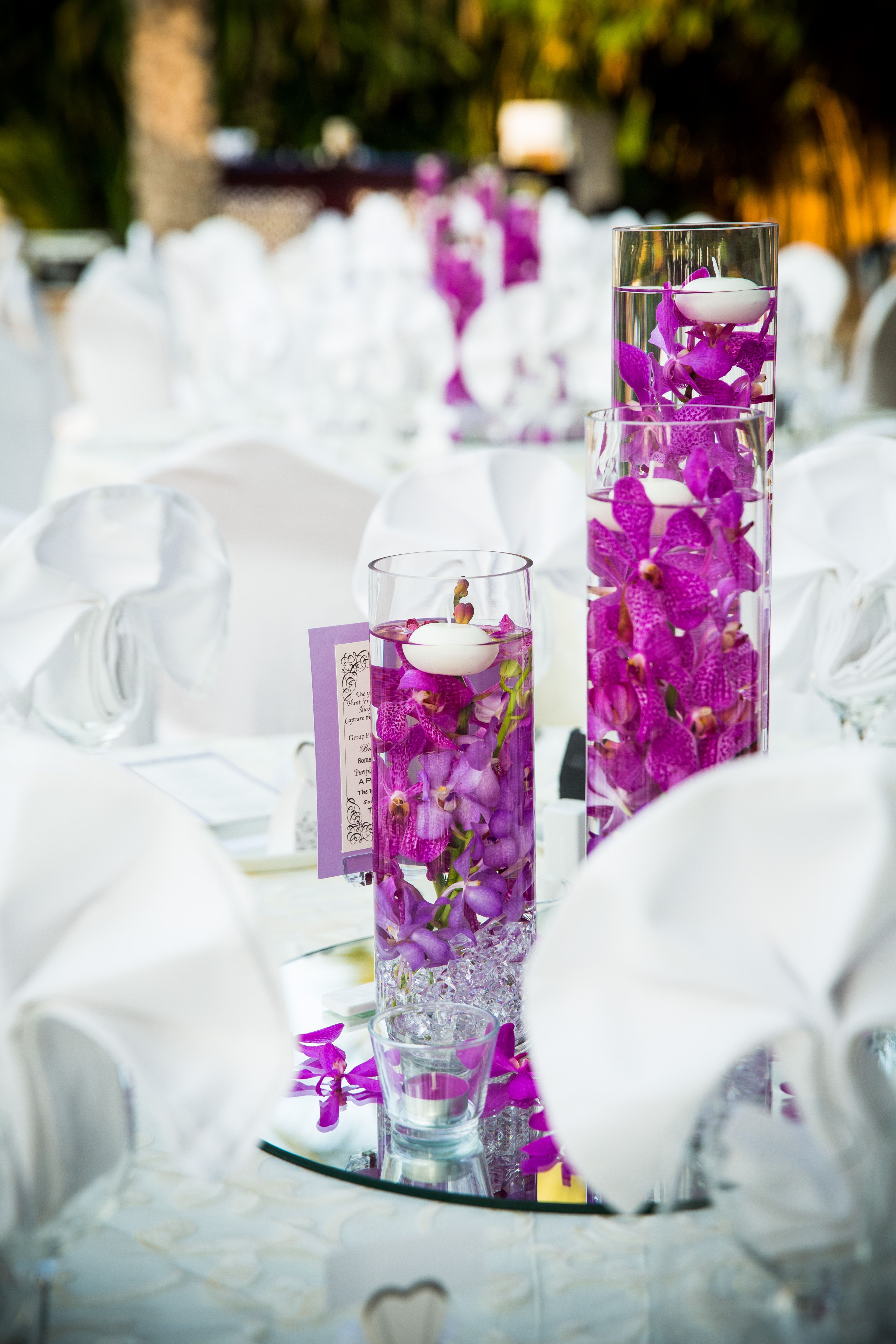 Purple Orchids Table Centerpiece | Wedding Flowers by The Flowerful ...