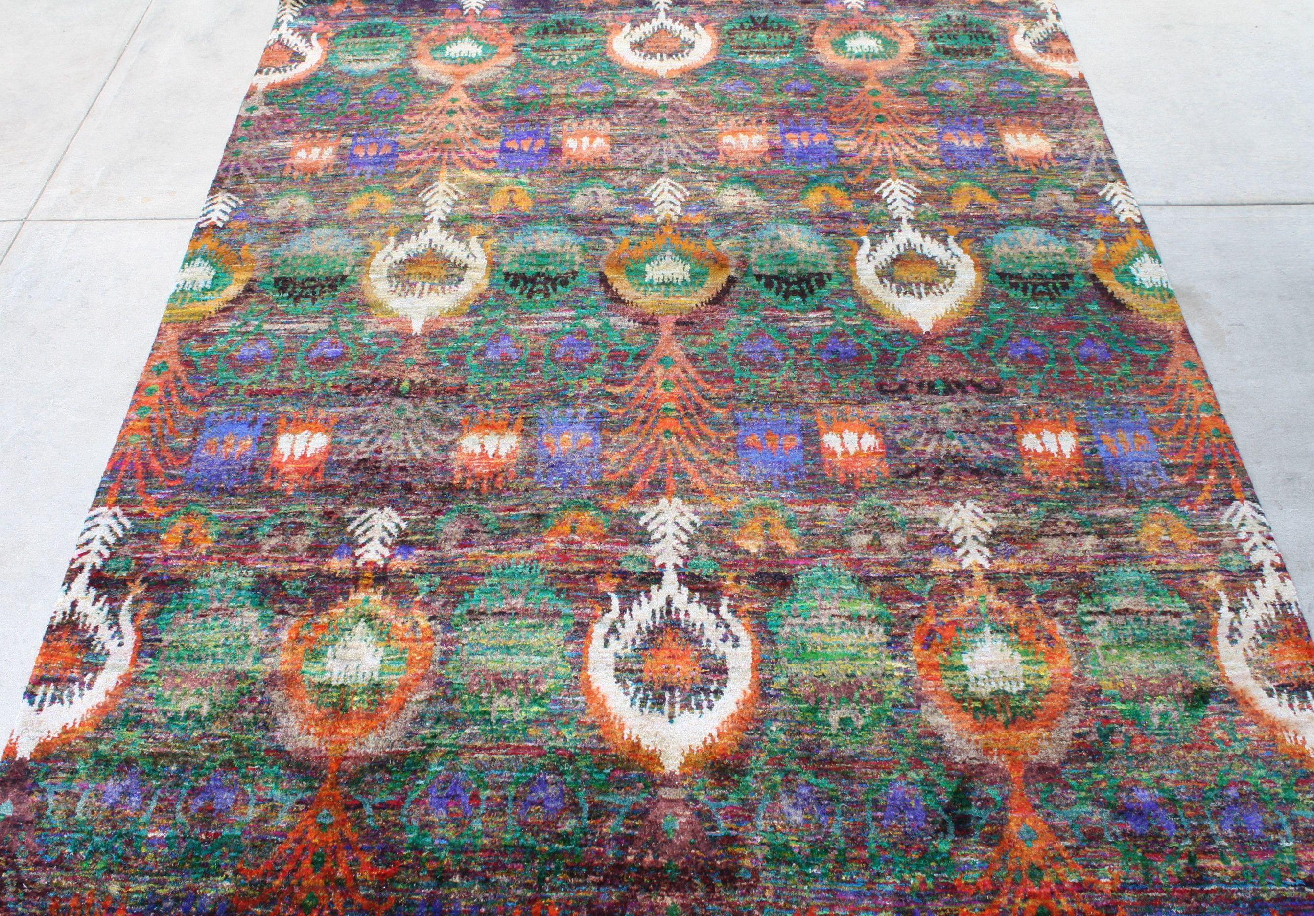 52838 Sari Silk Multi Colored Rug 7 9 Ft X 9 9 Ft Handmade