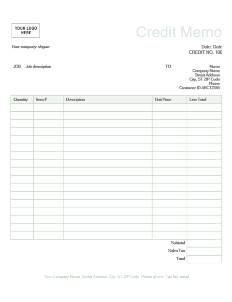 This Credit Memo Template Is Used To Calculate Line Item Totals