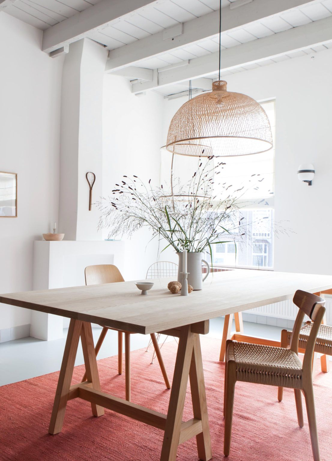 Scandinavian Inspired Interior With Sawhorse Dining Table Diningtable Sawhorse Saw In 2020 Scandinavian Dining Table Scandinavian Dining Room Dining Table Lighting