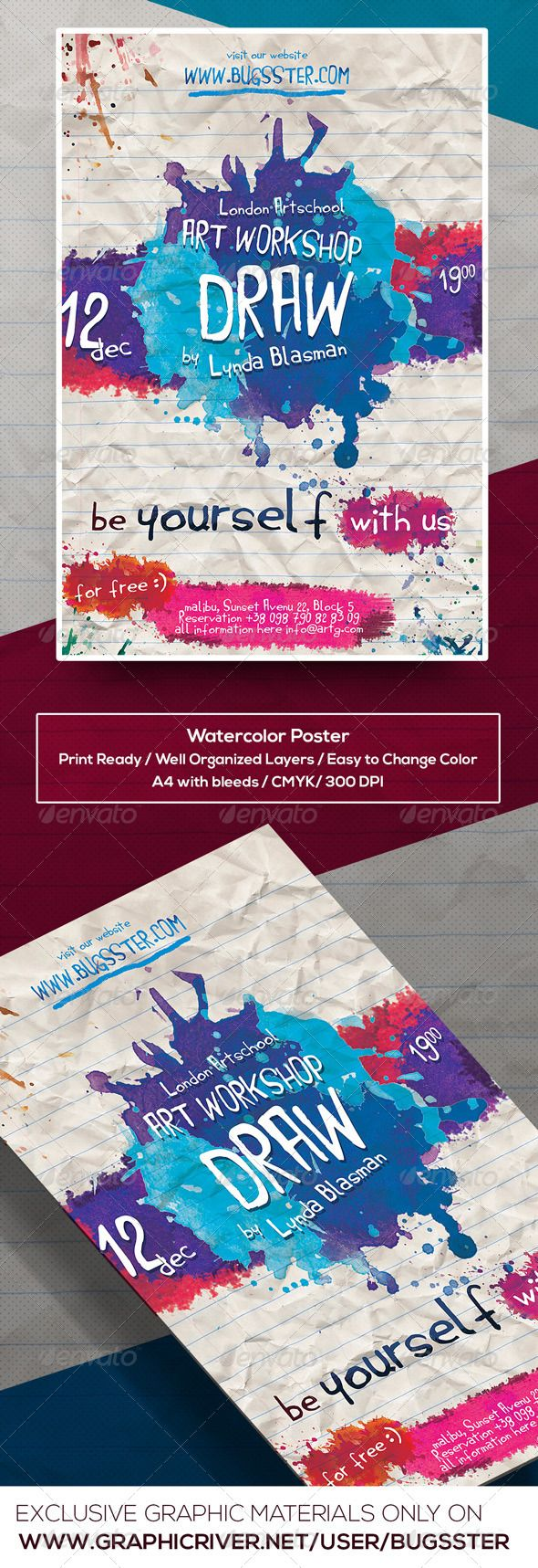 watercolor art event poster flyer template children s space