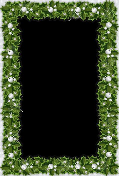 Transparent Christmas Photo Frame with Pine and Mistletoe ...