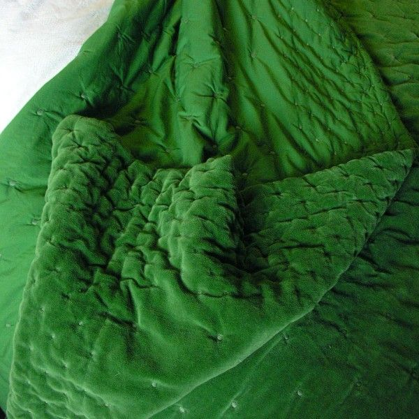 Velvet Cotton Bedspread Green Goes With Everything