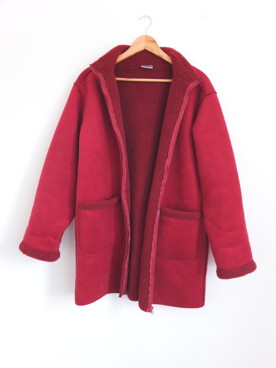 Vintage 90s Oversize Red Faux Suede Shearling Sheepskin Fleece ...
