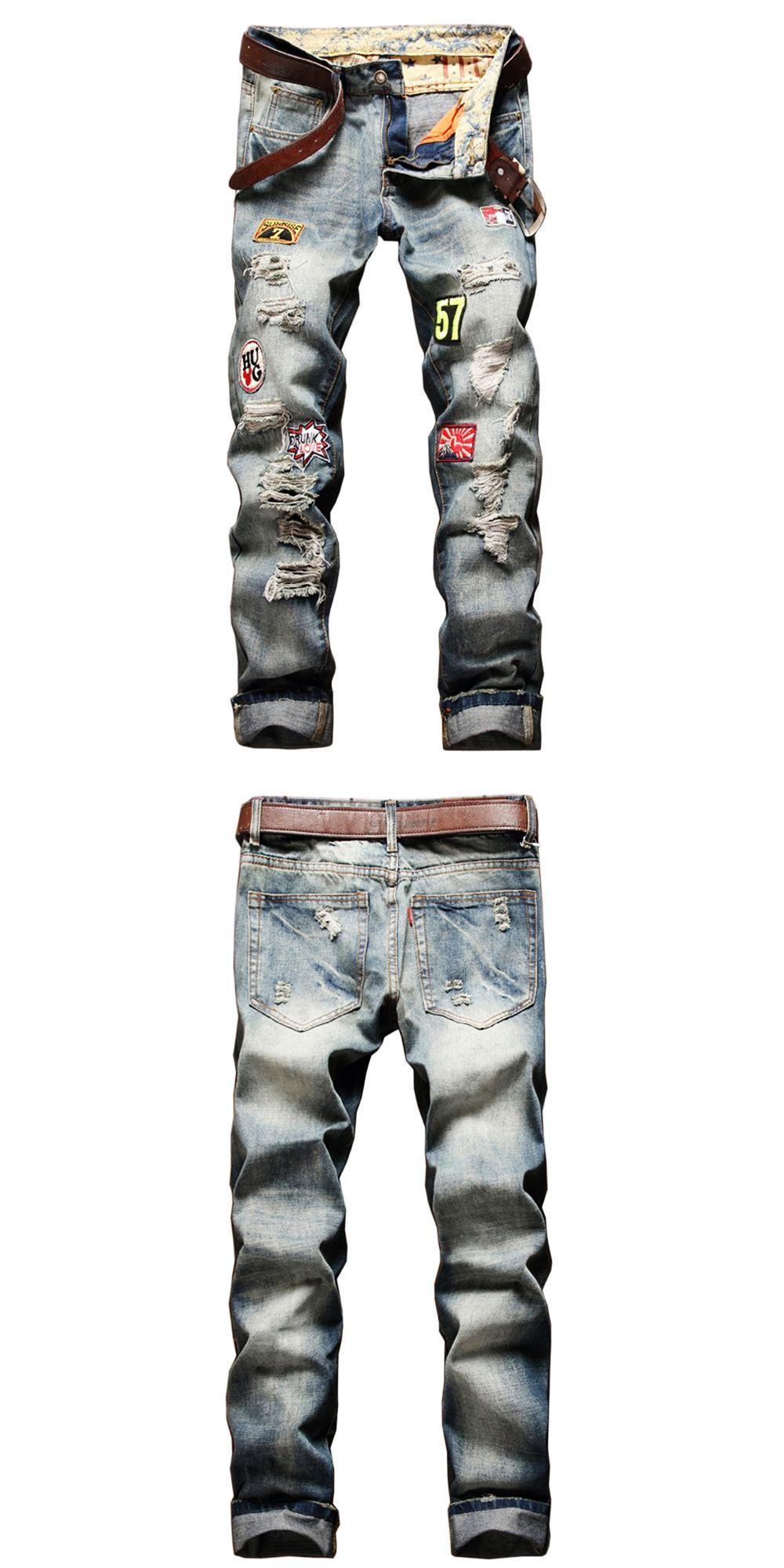 1f986b4b New 2017 Summer Autumn Fashion Mens Skinny Jean Pants Ripped Holes Vintage Washed  Denim Pants Hip