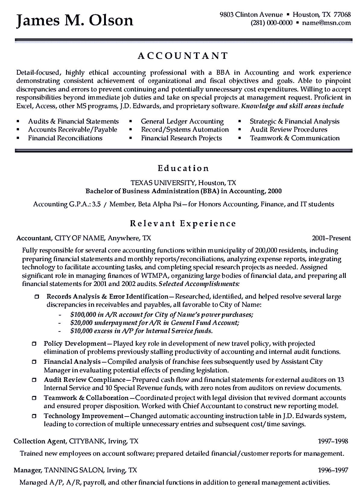 You Can See The Sample Here. First Of All, For General... Sample Accounting  Resume