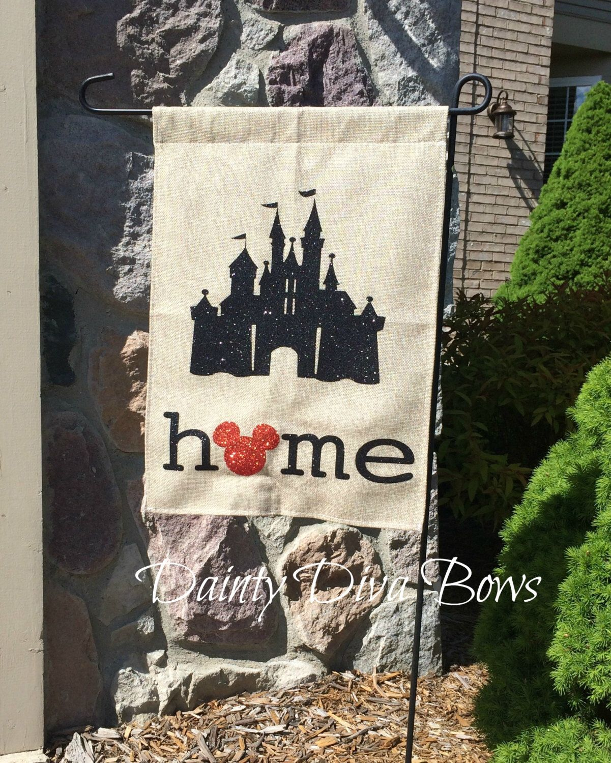 Burlap Garden Flag, Disney Garden Flag, Disney Flag, Burlap Flag, Personalized Garden Flag, Yard Art, New Home Gift, Disney Gift by DaintyDivaBows on Etsy https://www.etsy.com/listing/294345027/burlap-garden-flag-disney-garden-flag