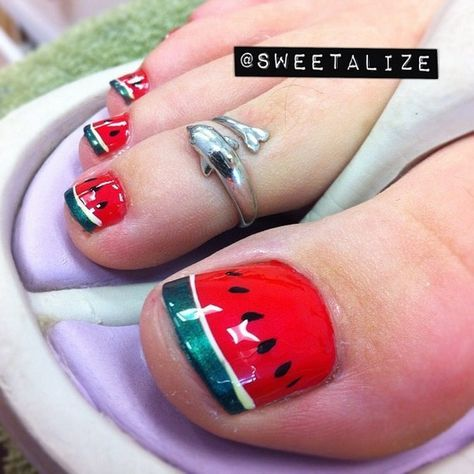 watermelon pedicure  summer toe nails watermelon nails
