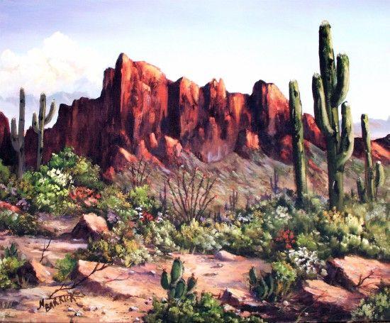 Desert Sunsets Southwest Paintings Arizona Landscapes By Brenda Bowers Desert Landscape Painting Scenery Paintings Desert Painting