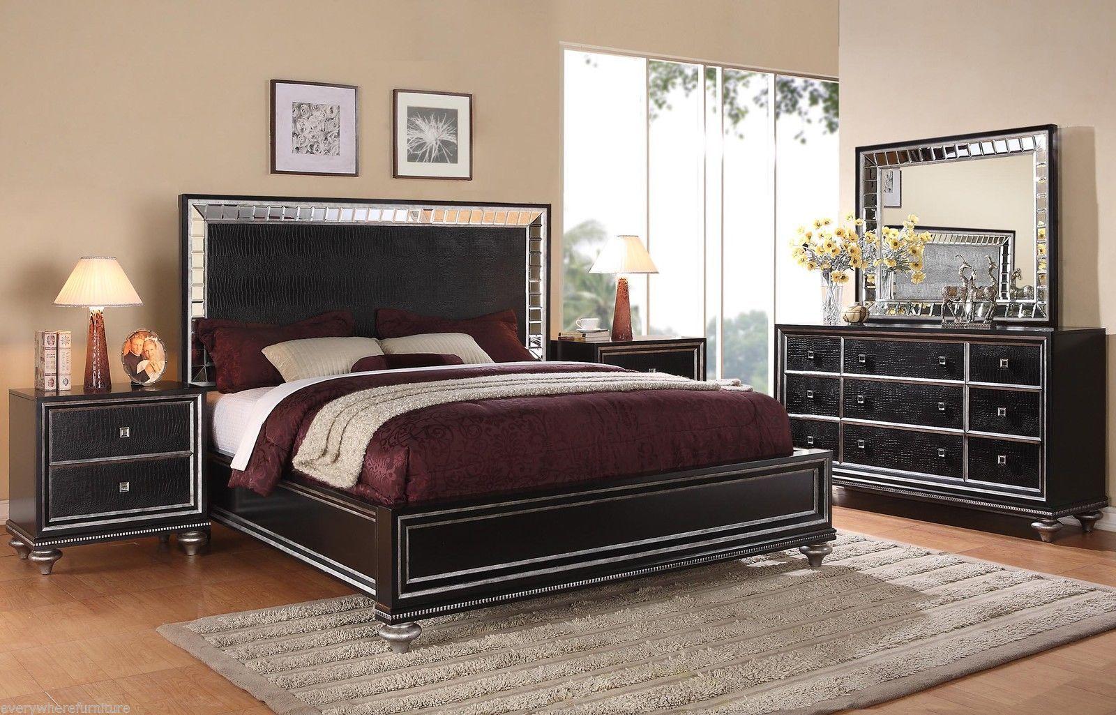 Wynwood Glam Black Mirrored King Size Mansion Bed Bedroom Furniture Hollywood King Size