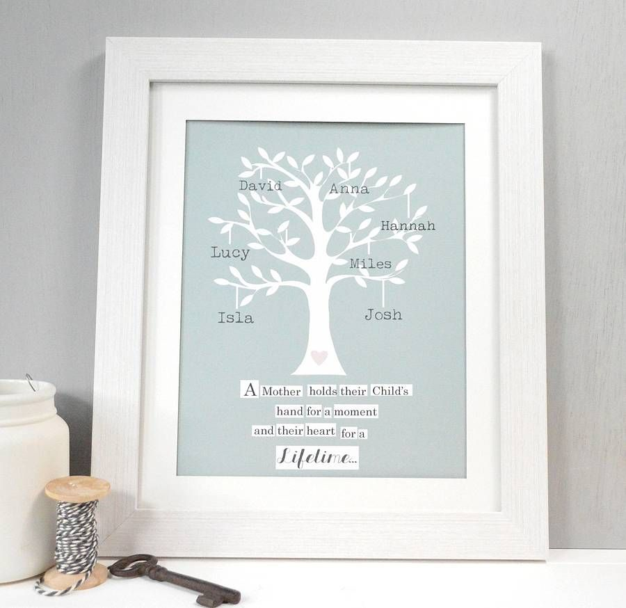 personalised mum family tree framed print by tilliemint loves notonthehighstreetcom