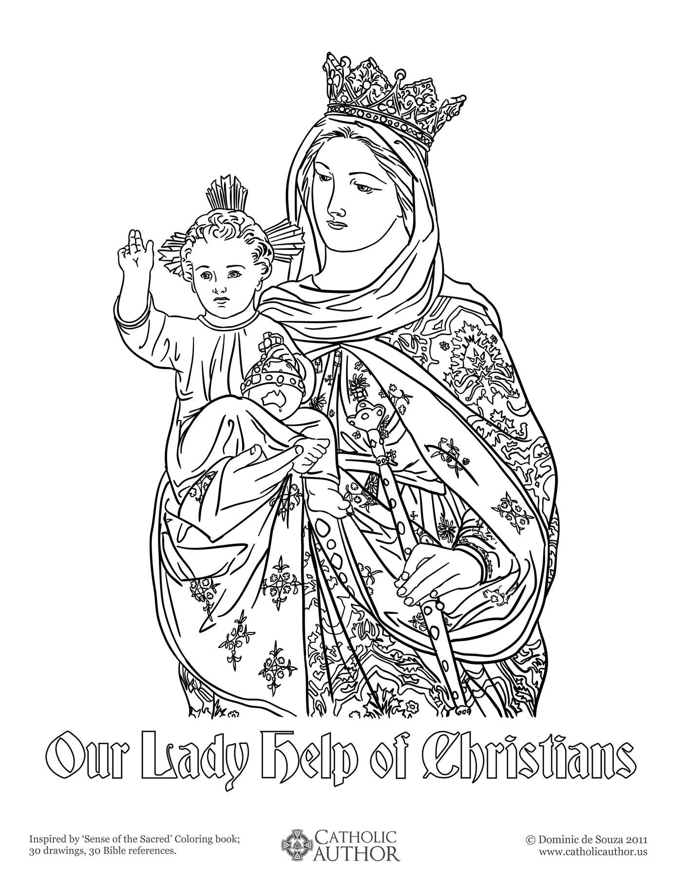 our lady help of christians free hand drawn catholic coloring