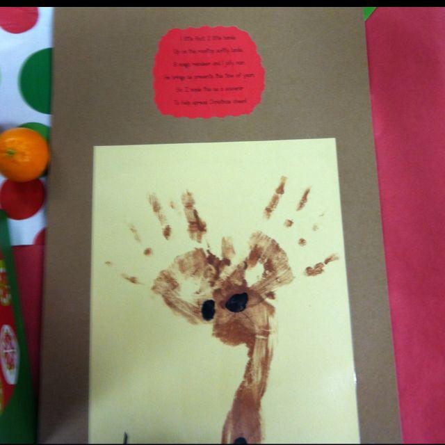 Foot and handprint reindeer! And made an original poem ...