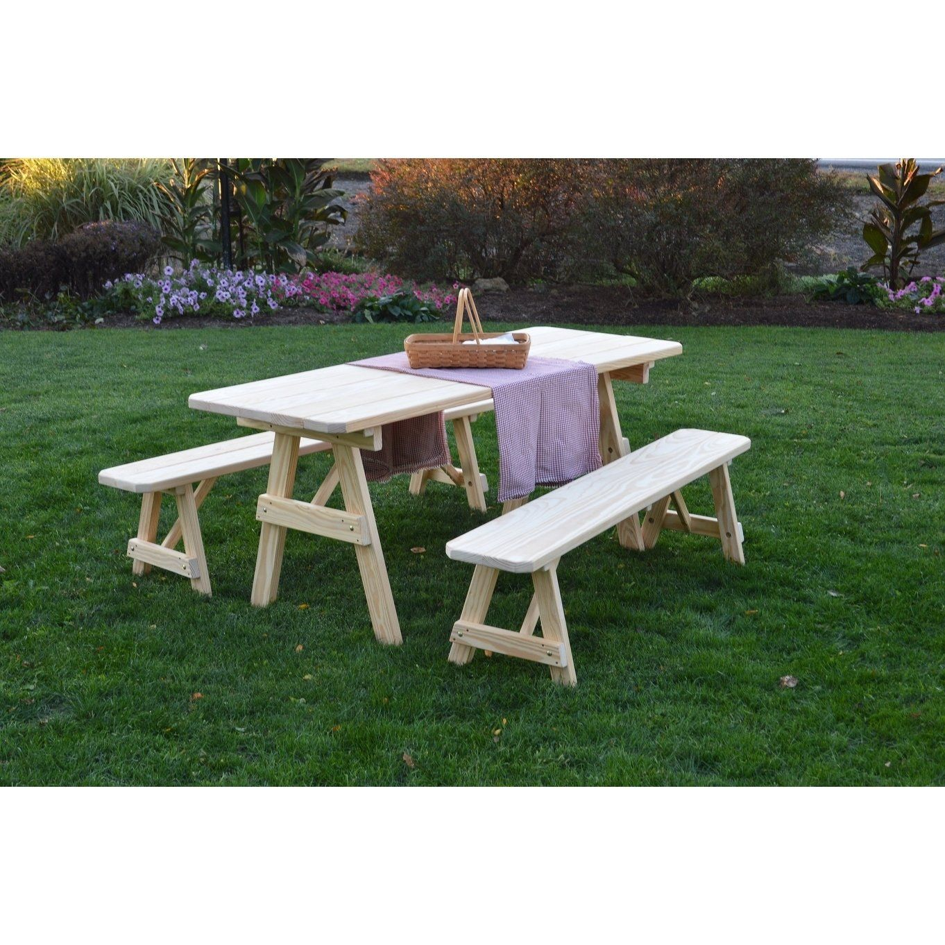 Picnic Table With Detached Benches Unfinished Pressure Treated Pine 8 Feet Natural Picnic Table Solid Wood Table Tops Furniture