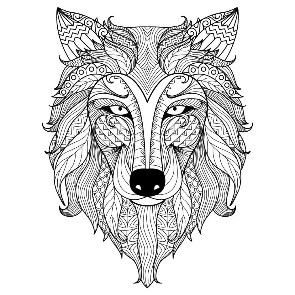 Hard Wolf Coloring Pages For Adults