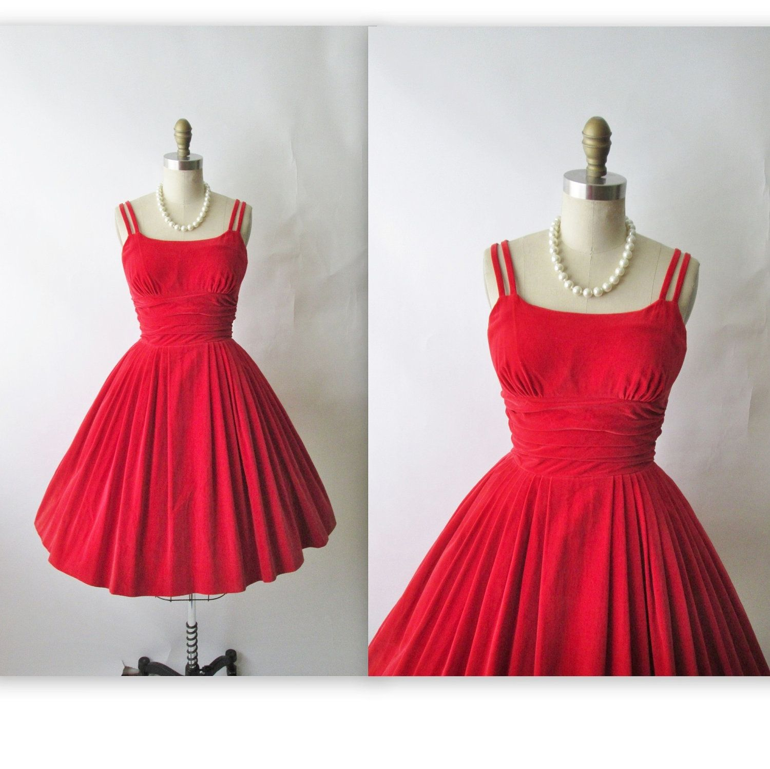 50\'s Velvet Dress // Vintage 1950\'s Red Velvet Cocktail Party ...