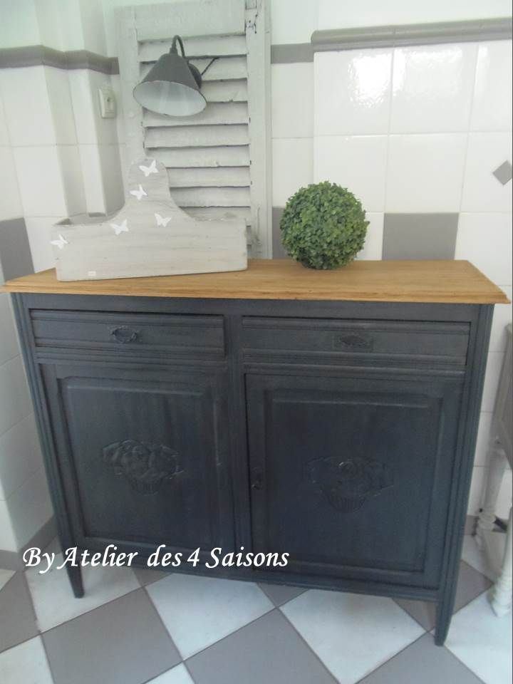 Buffet vintage patin gris ardoise plateau bois prot g par 3 couches de vernie acrylique mat - Meuble peint en gris ...