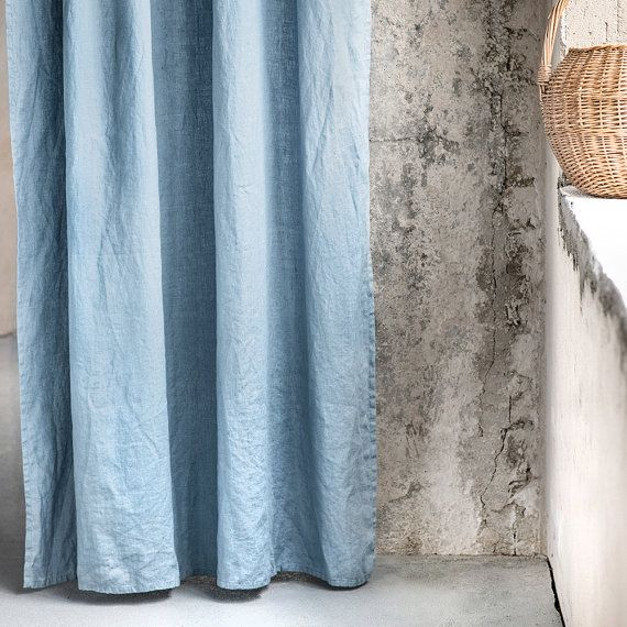 Swedish blue. Washed linen curtains/ linen drapes in Swedish