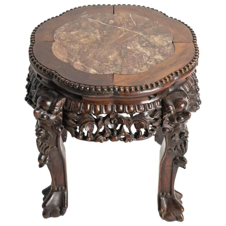 Chinese Carved Rosewood And Marble Side Table Marble Side Tables