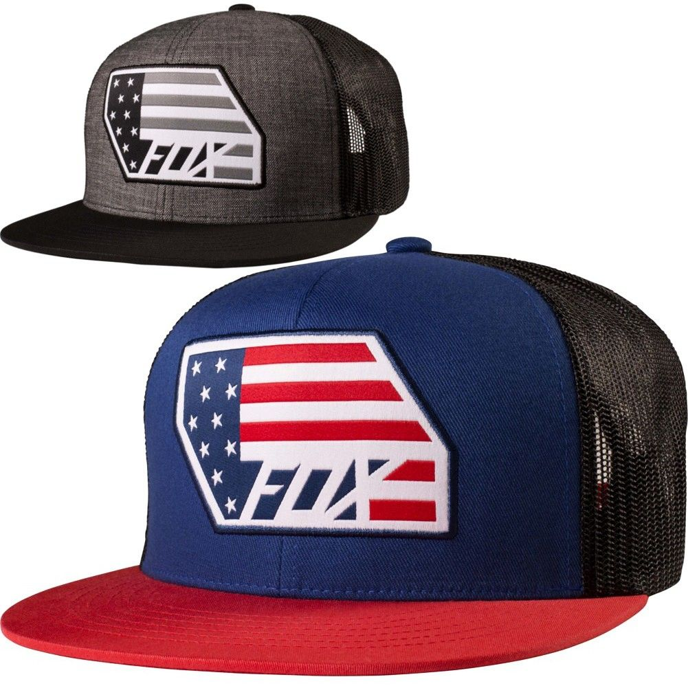 Fox Racing Red White and True Mens Motocross Caps Off Road Snapback Hats