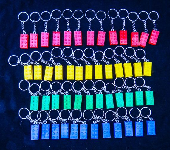 Bulk packs of colorful brick key chain, key ring, or zipper pull ...