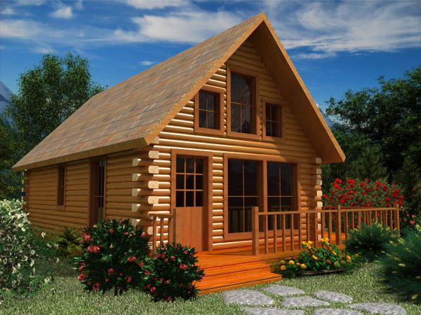 cabin with loft and large porch Small log cabin Log cabin homes Log cabin plans