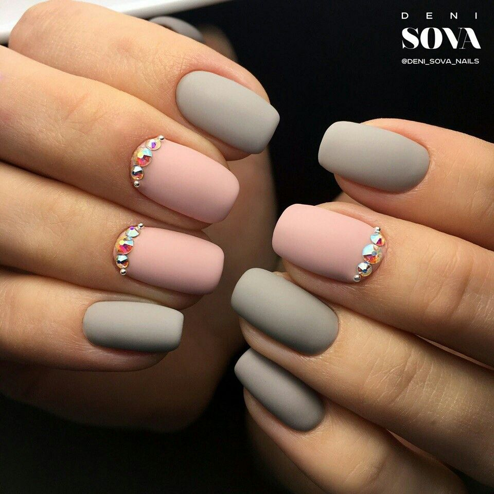 Grey And Pink With Jewels Nail Art Fall Winter 2017