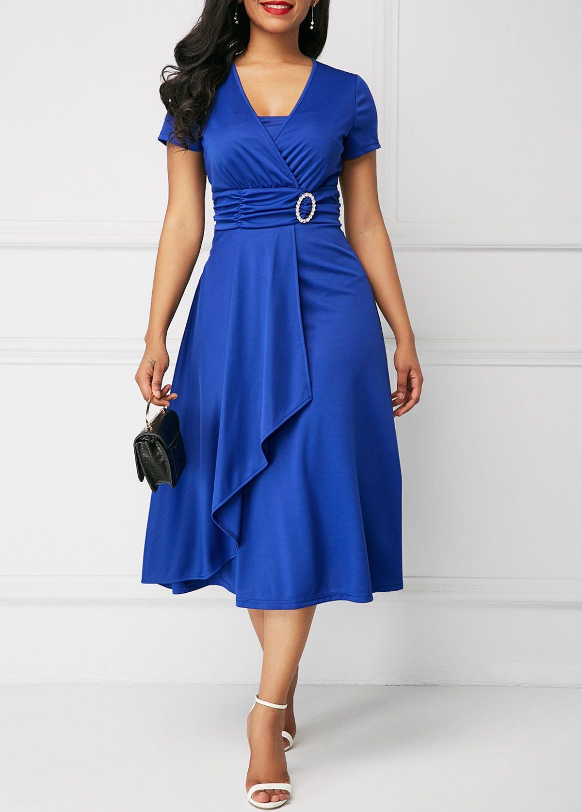Short Sleeve Royal Blue Asymmetric Hem Dress | Rotita.com ...