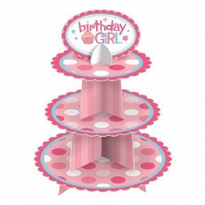 First Birthday Cupcake Stand - Girl Party Supplies