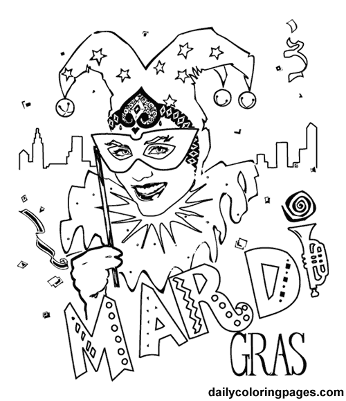 Mardi Gras Coloring Pages Holiday 01 500x
