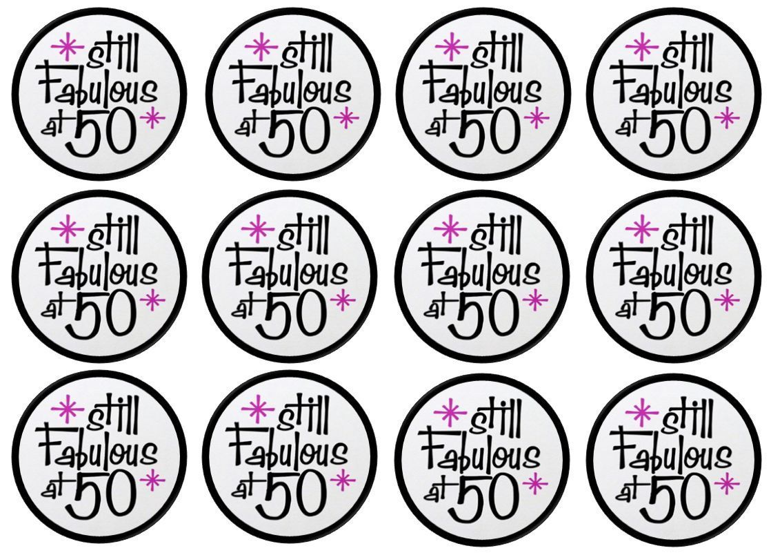 50th Birthday Fabulous Cupcake Toppers print Pinterest