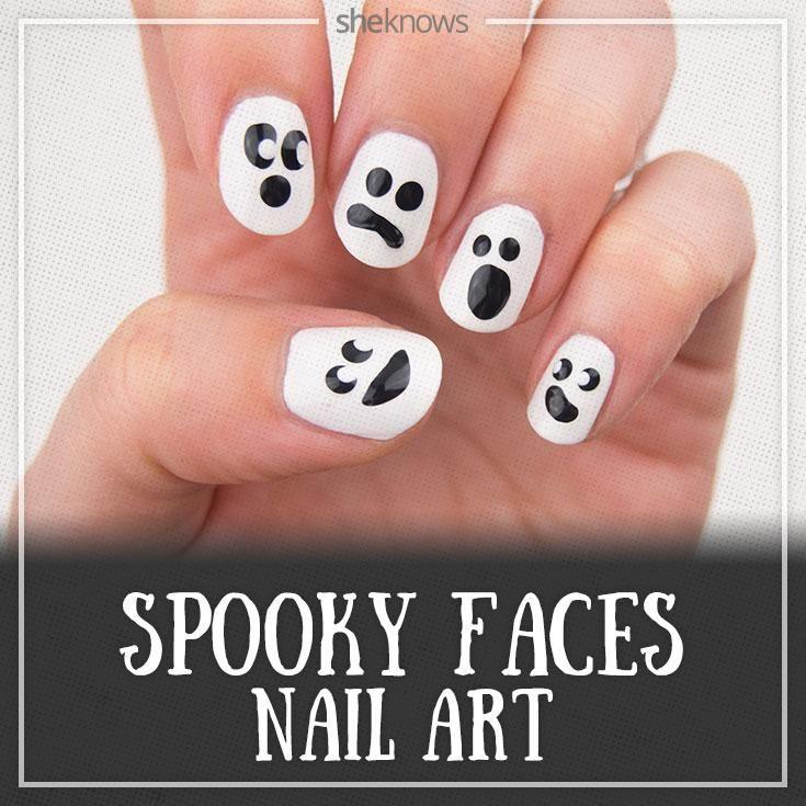 Cute Halloween Nail Art Tutorial That Makes Ghost Faces Look Oh So Cute Halloween Nail Art Tutorial Nails For Kids Nails